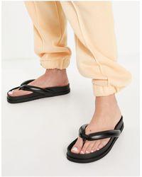 Pull&Bear Padded Thong Sandals - Black