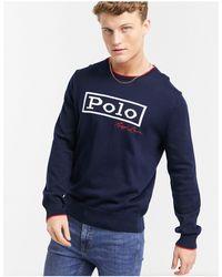 Polo Ralph Lauren Темно-синий Джемпер Из Плотного Хлопкового Трикотажа С Большим Логотипом Спереди
