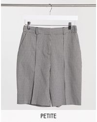 TOPSHOP Petite Check Short - Black