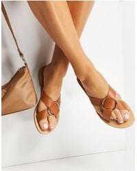 Glamorous Cross Strap Flat Sandals With Gold Ring - Brown