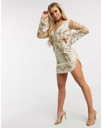 A Star Is Born Embellished Mini Dress With Curved Hem - Natural