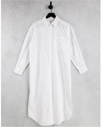 Object Organic Cotton Oversized Long Shirt - White