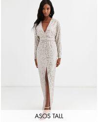 ASOS Asos Design Tall Maxi Dress With Batwing Sleeve And Wrap Waist - Grey