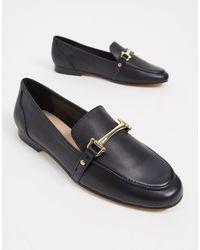 ALDO Gold Trim Loafers - Black