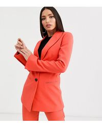 ASOS ASOS DESIGN Tall - Pop - Blazer da abito sciancrato - Rosso