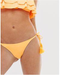 Glamorous Tie Side Bikini Bottom - Yellow