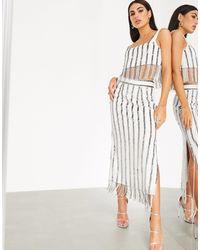 ASOS Sequin Stripe Midi Skirt Co-ord - Multicolor