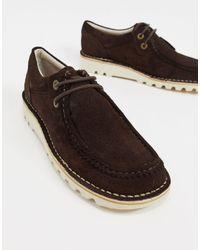 Kickers - Темно-коричневые Замшевые Туфли-дерби В Стиле Casual Kick Wall Lo-коричневый - Lyst