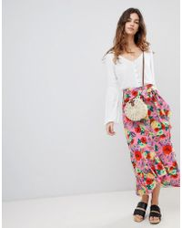 ASOS DESIGN - Cotton Midi Skirt With Ruffle Hem And Belt In Floral Print - Lyst