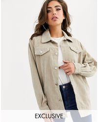 PrettyLittleThing Exclusive Lightweight Cord Jacket - Natural