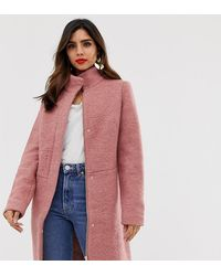 Vila Funnel Neck Coat - Pink