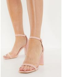 Glamorous Heeled Sandals With Block Heels - Pink
