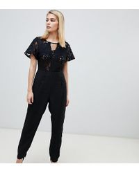 Love Triangle Lace Jumpsuit - Black