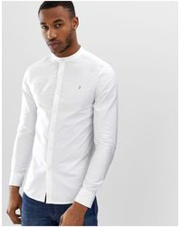 Farah Brewer Slim Fit Grandad Collar Shirt - White