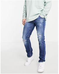 Jack & Jones Intelligence Glenn Slim Jeans With Rips - Blue