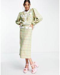 Sister Jane Tweed Check Midi Skirt Co-ord - Pink