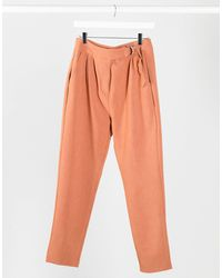 4th & Reckless Suit Trouser With Side Buckle - Orange