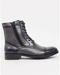 Kenneth Cole Серые Кожаные Ботинки На Шнуровке -серый