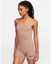Nike Бежевый Комбинезон С Логотипом-галочкой - Естественный