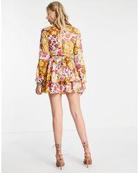 John Zack Эксклюзивное Ярусное Платье Мини С Контрастным Цветочным Принтом, Глубоким Вырезом И Оборками -multi - Многоцветный