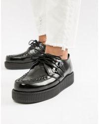 T.U.K. - Platform Creepers In Black Hi Shine Leather - Lyst