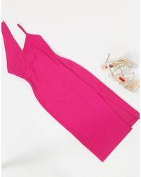 AQ/AQ Midi Dress With Cut Out Detail - Pink