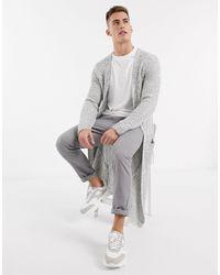 ASOS Super Longline Ribbed Cardigan - Grey