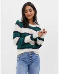 Abercrombie & Fitch Balloon Sleeve Jumper In Stripe - Multicolour