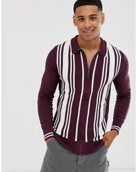 Brave Soul - Zip Through Cardigan With Stripe - Lyst