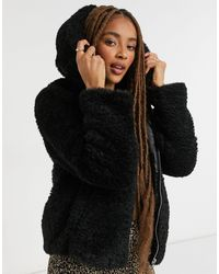 Miss Selfridge Черное Пальто Из Искусственного Меха -черный
