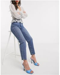 Stradivarius - Jean mom stretch - Délavage moyen - Lyst