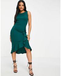 Lipsy Ruffle Panel Pencil Dress - Green