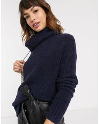 Esprit Oversized High Neck Knitted Sweater - Blue