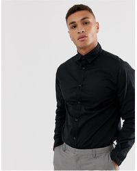 Jack & Jones Черная Рубашка Из Эластичного Хлопка -черный