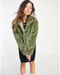 Vero Moda Шуба Из Искусственного Меха Цвета Хаки -зеленый Цвет