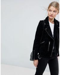 SELECTED Femme - Blouson style motard en daim - Noir