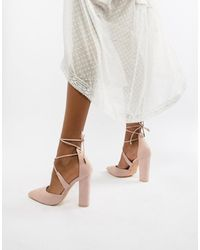 Glamorous Block Heel Tie Up Court-beige - Multicolour