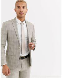 TOPMAN Slim Double Breasted Suit Jacket - Grey