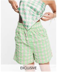 Collusion Gingham Seersucker Shorts Co-ord - Green