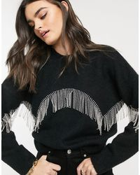& Other Stories Jersey negro con flecos