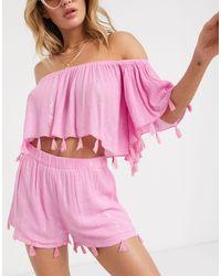 South Beach Кроп-топ От Комплекта -розовый