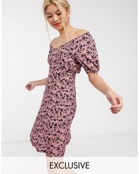 Whistles - Exclusive Floral Ruched Bodice Jersey Mini Dress - Lyst