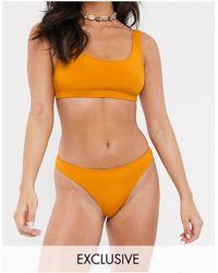 Monki Recycled Polyester Square Neck Bikini Top - Yellow