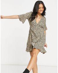 AX Paris Платье Мини С Запахом И Леопардовым Принтом -многоцветный