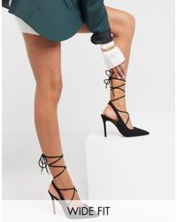 ASOS Wide Fit Whizzy Tie Leg High Heels - Black