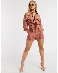 Missguided Co-ord Twill Utility Pleat Front Short - Red