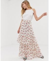 Glamorous Floral Maxi Skirt With Eyelet Detail - Multicolour