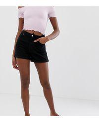 Missguided Riot High Rise Denim Shorts In Black