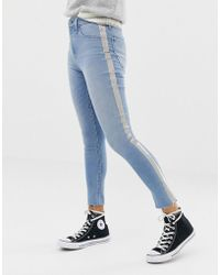 Abercrombie & Fitch - High Waist Crop Skinny With Metallic Panel - Lyst