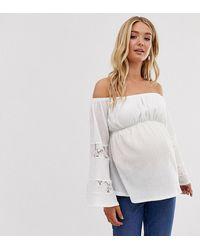 ASOS Asos Design Maternity Bardot Top - White